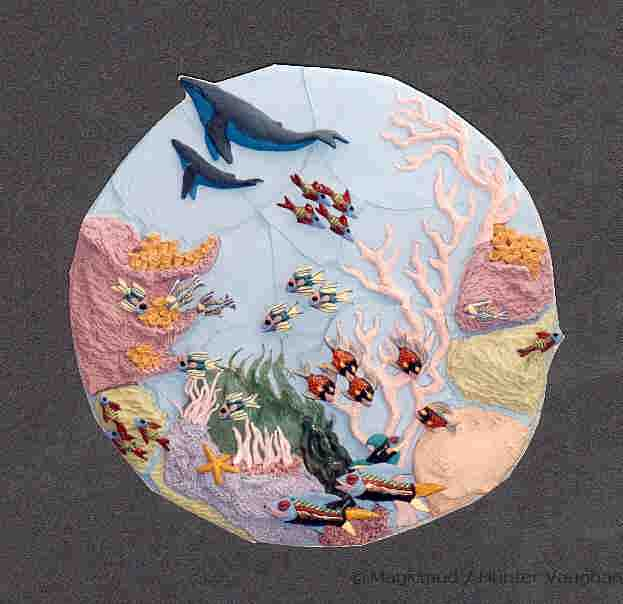 Aquatic ceramic tile art murals and aquatic wallhangings for Ceramic mural painting
