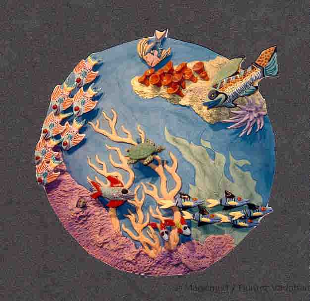Aquatic ceramic tile art murals and aquatic wallhangings for Clay tile mural