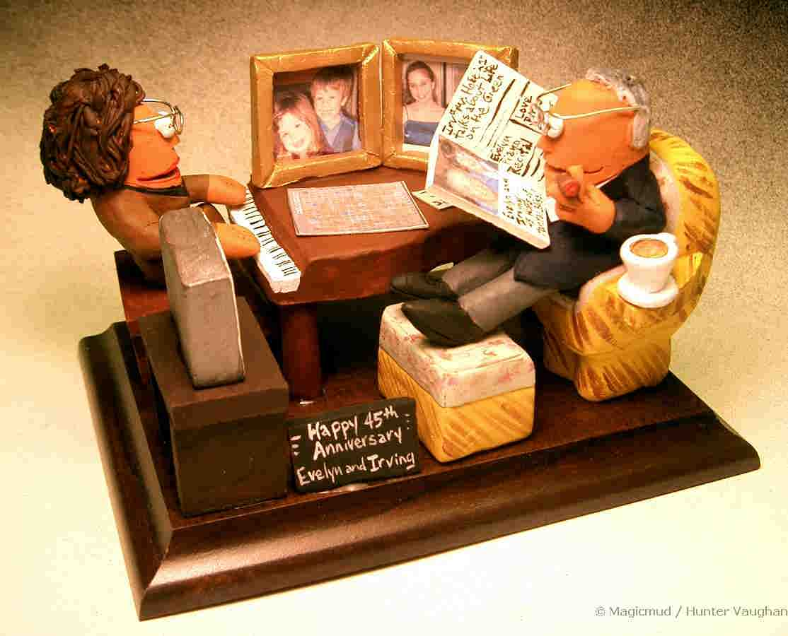 Personalized gift for birthdayanniversaries family anniversary statue with her at the piano and him reading the paper in his easy chair 45th anniversary together personalized anniversary gift figurines negle Choice Image