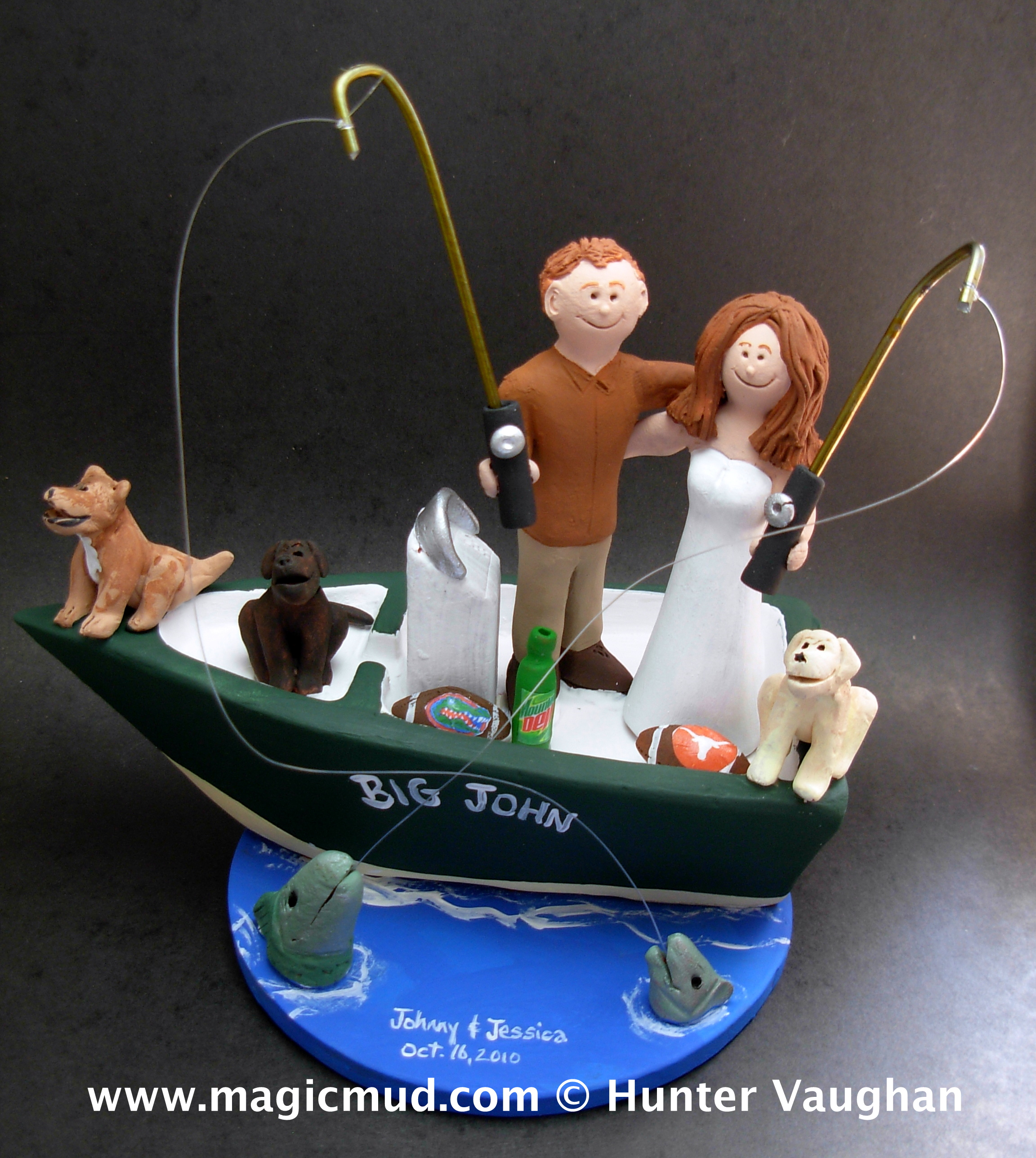 Fishing wedding cake toppers for Fishing cake toppers