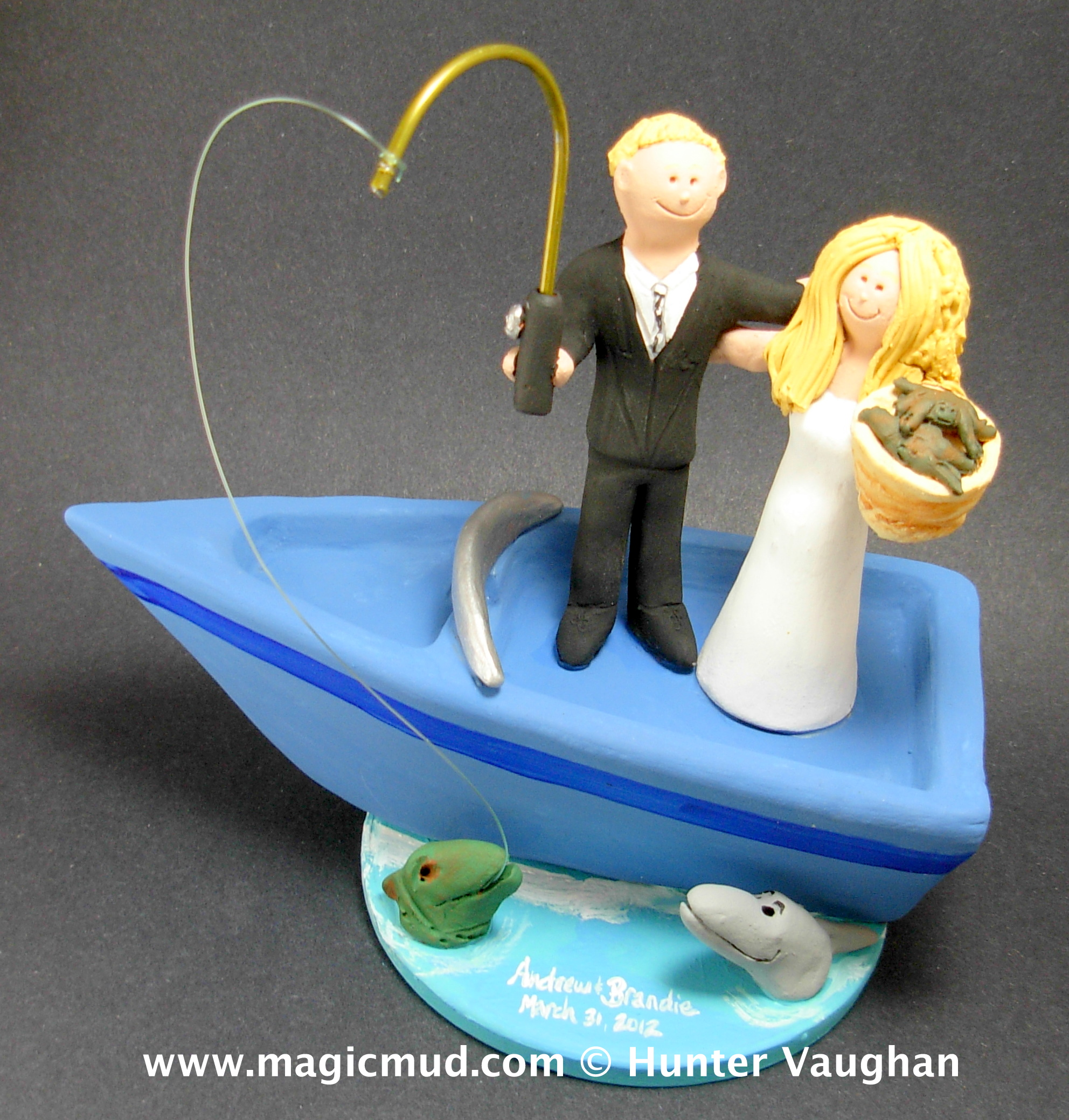 Boating wedding cake toppers for Fishing cake toppers