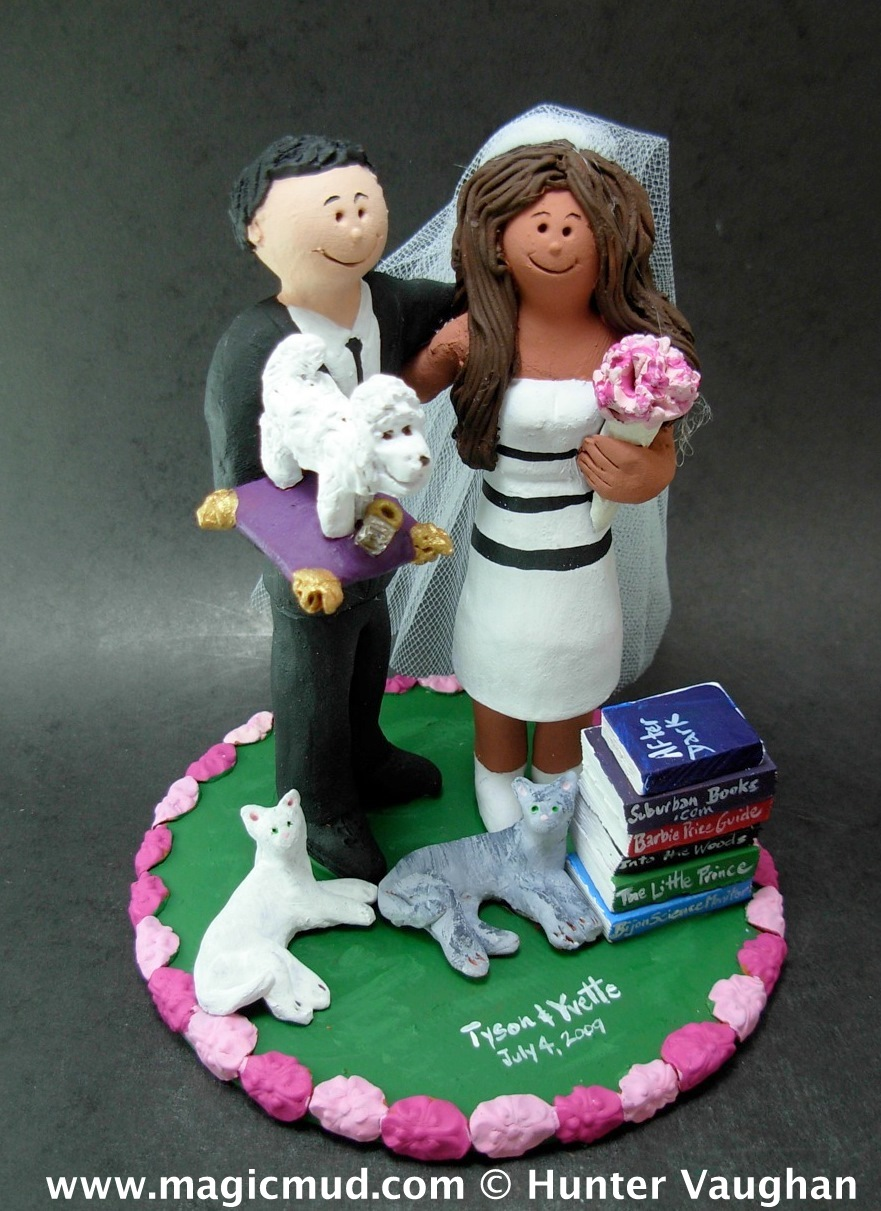 Mixed Race Wedding Cake Topper with Pets