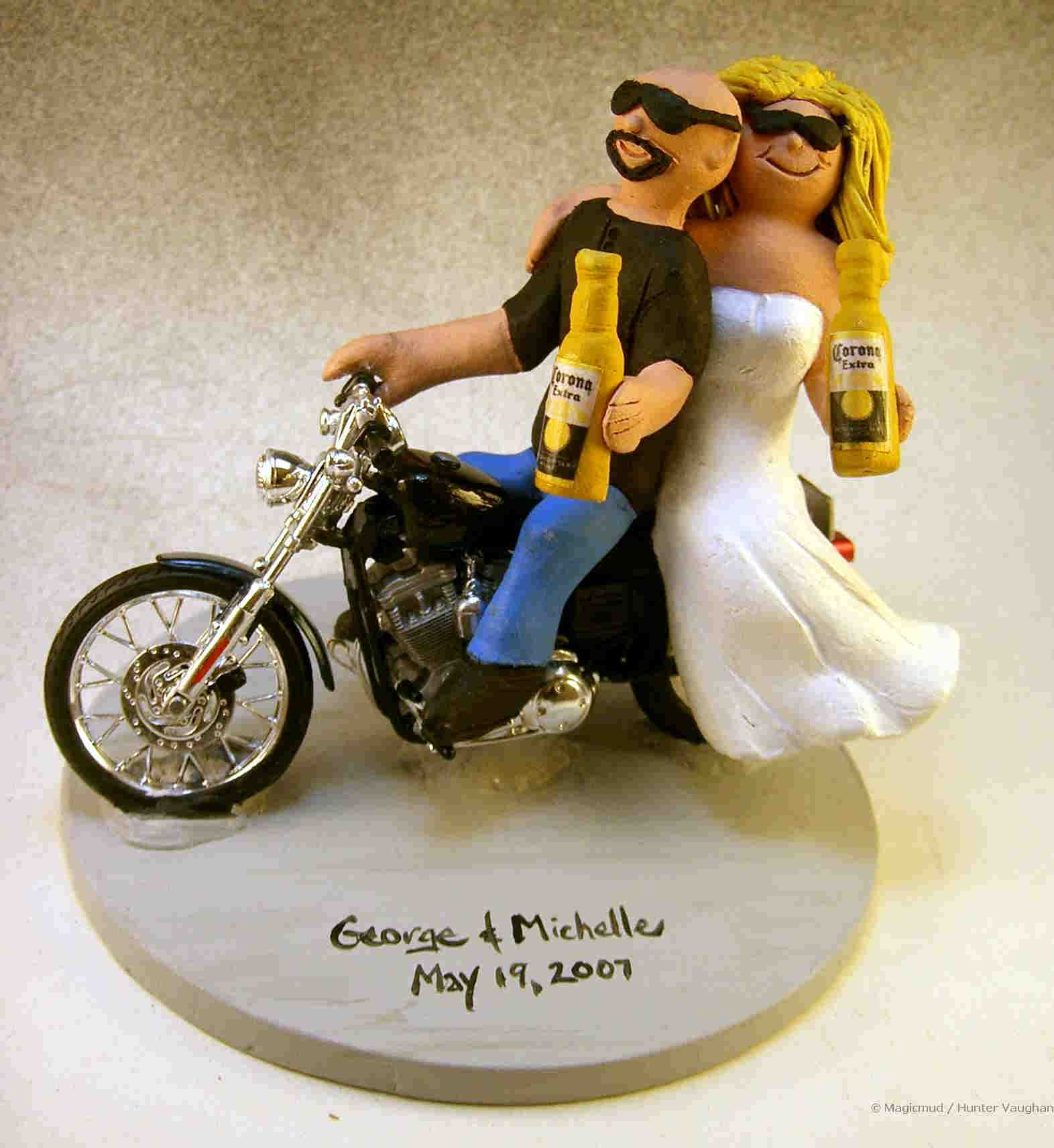 Motorcycle Riders' Wedding Cake Topper