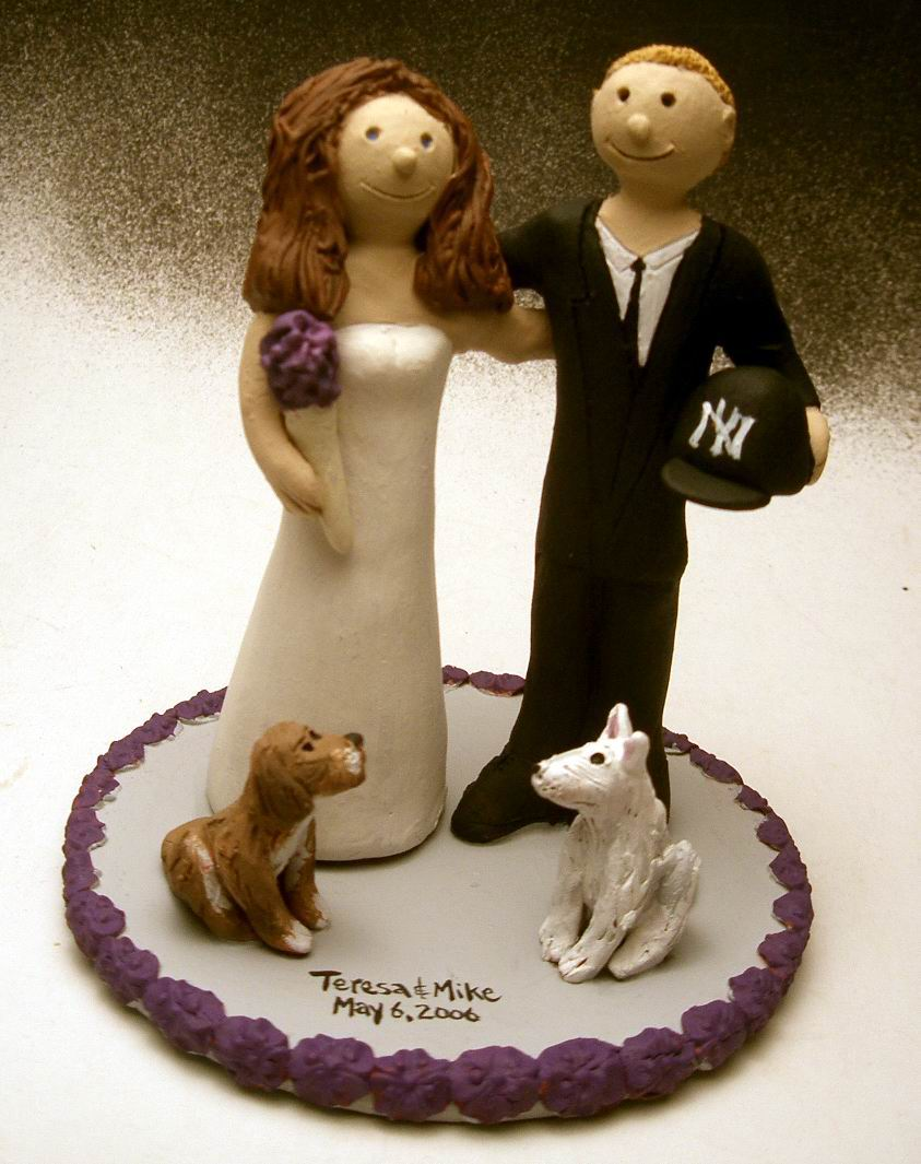 Wedding Cake Topper For Bride And Groom With Pet Dogs