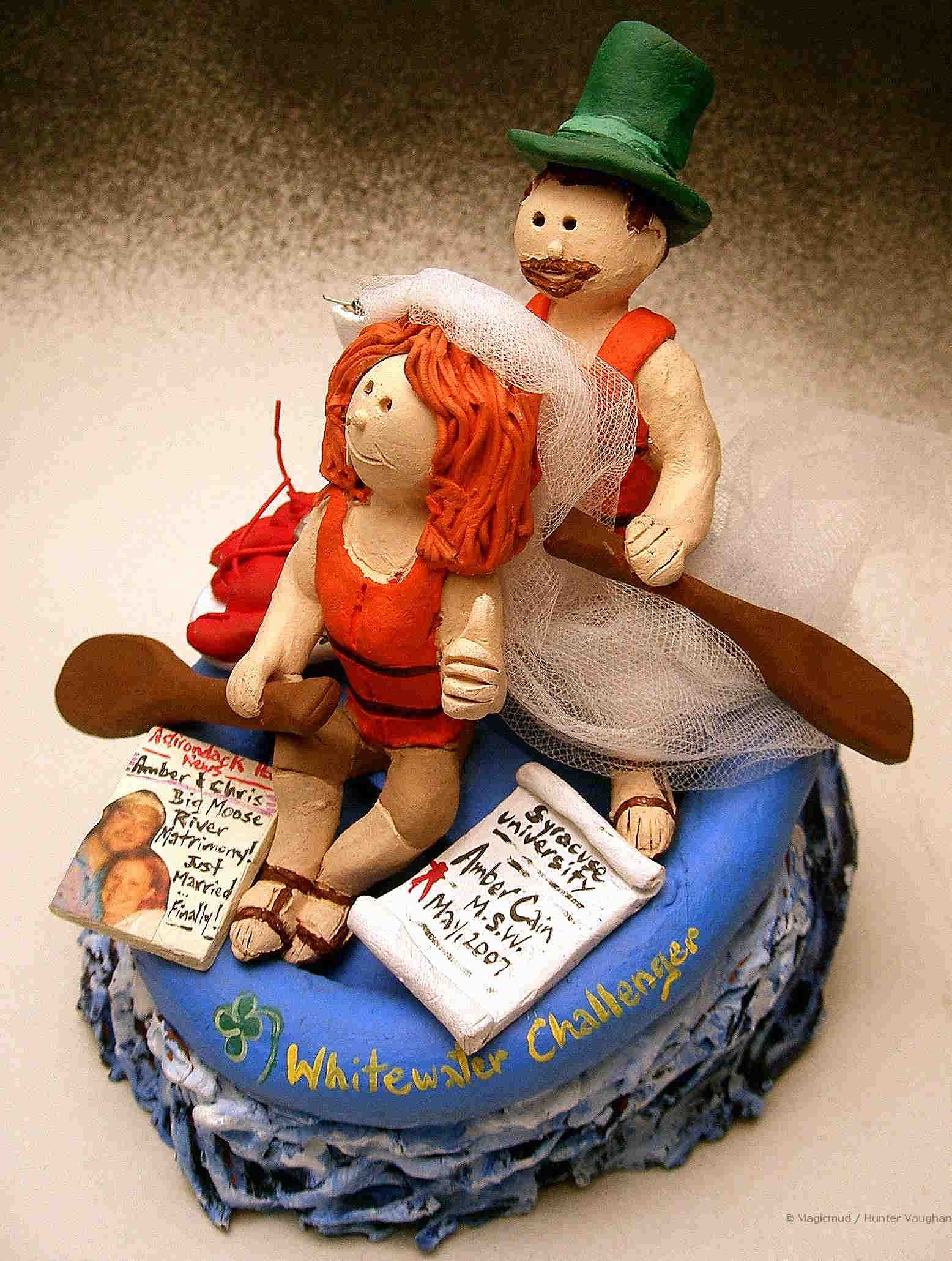 Whitewater Rafter's Wedding Cake Topper