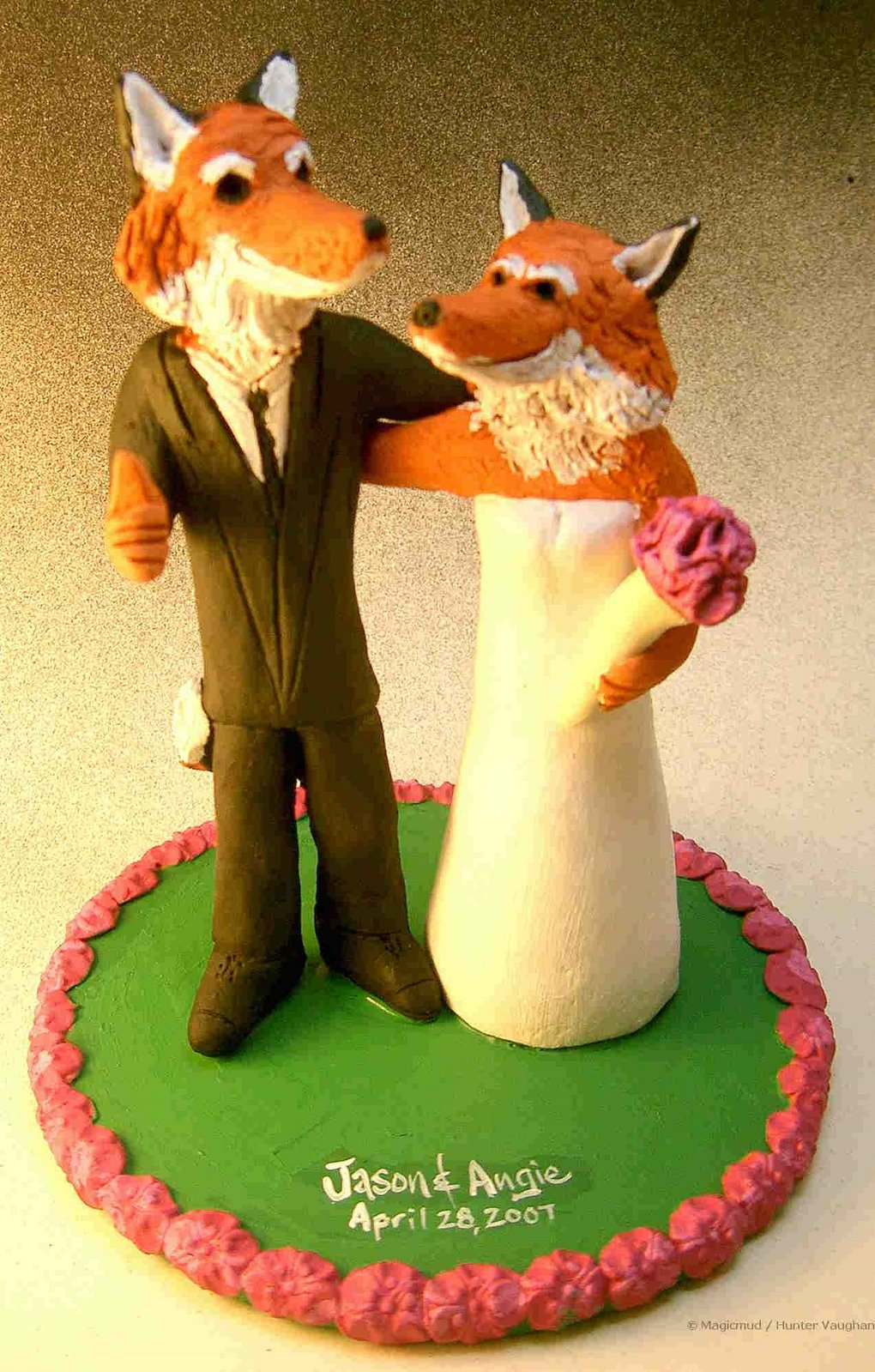 custom wedding cake toppers: Foxes Wedding Cake Topper